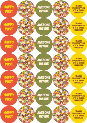 Kawaii Style Happy Post Stickers - Small Business - Awesome Inside